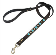 Brown leather dog leash with Pyramid Turquoise cabochons & Square brass studs