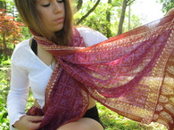 Bhatik Long Scarf100% Cotton - Fair Trade - Purple/Brown