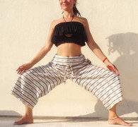 ALL NEW Unisex Wrap Yoga Pants - Ikat Gray Black White