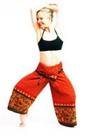 Ikat Wrap Yoga Pants - Rust Hand Painted Border - XS
