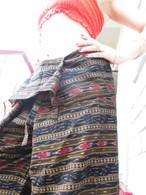 Ikat Wrap Yoga Pants - Black Gold Diamonds