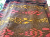 Ikat Wrap Yoga Pants - Brown Pink Gold