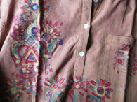 A Cori Collection - Hand Painted Kurta - Gold Flowers - Men-S  Women -S/M