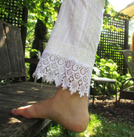 New Indian Embroidered Cotton Pants with Lace - White - S/M
