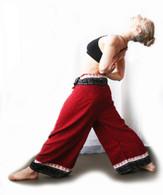 Ikat Wrap Yoga Pants - Black #8 Dark Red Small Red BORDER