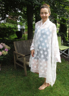 Scarf -Full Length with Embroidery in White Round Flowers