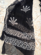 ALL NEW Black and White Chiffon Scarf - Leaves