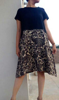 All New Black Ikat and Kalamkari Hand Painted Print Dress S/M