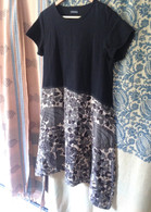 Black Ikat and Kalamkari Hand Painted Print Dress M/L