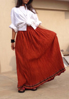 Dark Orange Fully Crushed Cotton Skirt - One Size