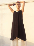 Ladies Beautiful Long Asymmetrical Tunic in Ribbed Cotton -  S/M Only