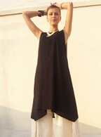 Pre-Order! Ladies Beautiful Long Asymmetrical Tunic in Ribbed Cotton -