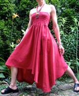 Cotton Red Convertible Dress /Skirt - Asymmetrical Hem