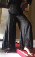 Embroidered Bell Bottoms Black  - Circles S/M/L