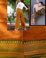 UNISEX ORGANIC INDIAN TRIM YOGA PANT in GOLD/GREEN - XL