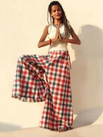 All New Bell Bottoms - Palazzo Wide Leg Pant - Checks Red-ONE SIZE
