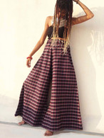 All New Bell Bottoms - Palazzo Wide Leg Pant - Checks Purple