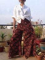 All New Bell Bottoms - Palazzo Wide Leg Pant - Floral Brown- Size S