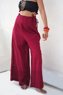 All New Bell Bottoms - Palazzo Wide Leg Pant - Raspberry -S/M
