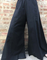 All New Bell Bottoms - Palazzo Wide Leg Pant - BLACK TEXTURED S/M
