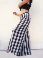 All New Bell Bottoms - Palazzo Wide Leg Pant - Black & White Stripes