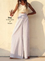 All New Bell Bottoms - Palazzo Wide Leg Pant - Khadi White Stripes With Zip