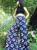 All New Bell Bottoms - Palazzo Wide Leg Pant - Floral Blue M/L