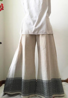All New Bell Bottoms - Palazzo Wide Leg Pant - Cream Black & Pink Border -M/L/XL