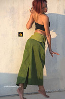 ALL NEW UNISEX Solid Yoga Pant in Hand Loom Cotton - Green Color Block - M