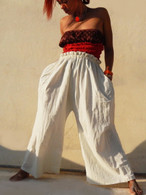 ALL NEW Elasticated White Pants in Hand Loom Cotton - One Size