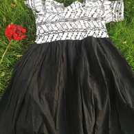 Crushed Cotton Dress - Black White