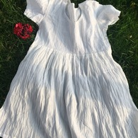 Crushed Cotton Dress - White Ribbed Cotton