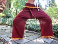 Unisex Indian Wrap Yoga Pants - Gold/Burgundy