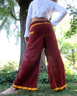 Unisex Indian Wrap Yoga Pants - Gold/Burgundy