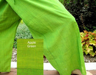 UNISEX Solid Yoga Pant in Hand Loom Cotton - Apple Green - Size M