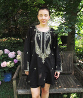 BLACK Hand Embroidered Kurta - L & XL