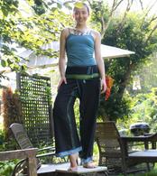 Unisex Indian Wrap Yoga Pants - Black Blue/Green Border
