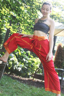 NEW Unisex Indian Wrap Yoga Pants - Red with GOLD Border- S