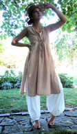 Ladies Hand Loom Long  Tunic with Pull-String - BEIGE