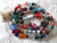 Japa Mala Prayer Beads - Natural/Blue