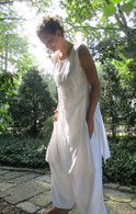 Ladies Long Organic Tunic with Pull-String - Organic White