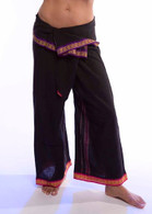 Unisex Indian Wrap Yoga Pants - Black  PINK/PURPLE Border