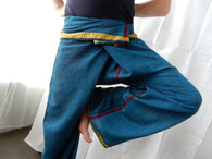 Unisex Indian Wrap Yoga Pants - Gold/Turquoise - Size M