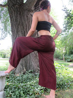 UNISEX Solid Yoga Pant in Hand Loom Cotton -BURGUNDY