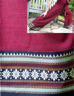 NEW Unisex Organic Indian Trim Yoga Pant in TWO-TONE RED -Star Border