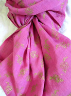 Block Print Long 100% Cotton Scarf - Fair Trade - Pink/Gold
