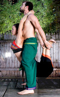 NEW UNISEX Indian Wrap Yoga Pants Two-Tone Green