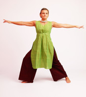 Ladies Long  Tunic with Pull-String - Moss Green - Size M ONLY