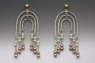 Sterling and pink pearl earrings