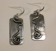 Etched and forged sterling silver earrings